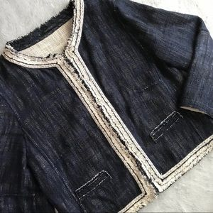 Elie Tahari Tweed Feminine Preppy Blazer Jacket